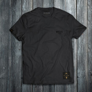 Image of our Wolfe Number 8 T-shirt in black, front profile